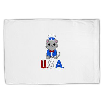 Patriotic Cat - USA Standard Size Polyester Pillow Case by TooLoud