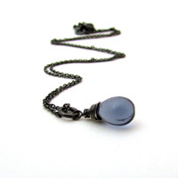 Midnight blue drop necklace, sapphire blue glass pendant, oxidized silver Czech glass jewelry, small navy blue necklace, minimalist jewelry