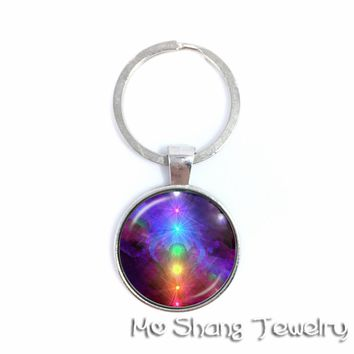Eastern Meditative Techniques Chakra Symbols Pattern Key Chains Glass Cabochon Jewellery Sporty,Best Gift For Family And Friends