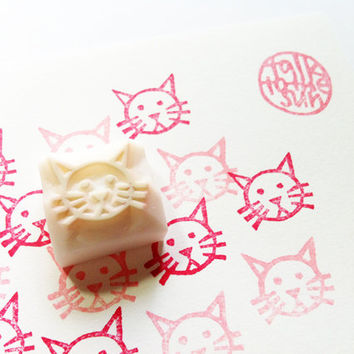 cat rubber stamp. small animal face stamp. hand carved rubber stamp. READY TO SHIP