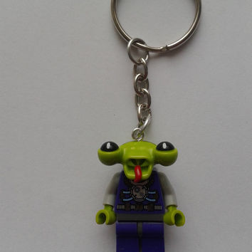 Space Alien minifigure keychain keyring  made with LEGO® bricks