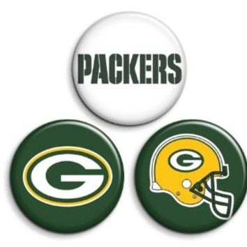 Green Bay Packers Pins Pinback Buttons or Magnets 3-pack NFL