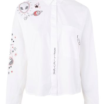 Doodle Embroidered Shirt - Clothing