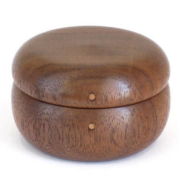 Wooden Pill Box Handcrafted in Walnut with Magnetic Lid