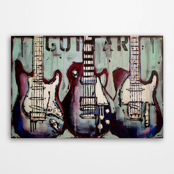 Guitar painting, Music art, Modern mint green, burgundy and blue Music wall art, Original abstract guitar painting on canvas by Magier