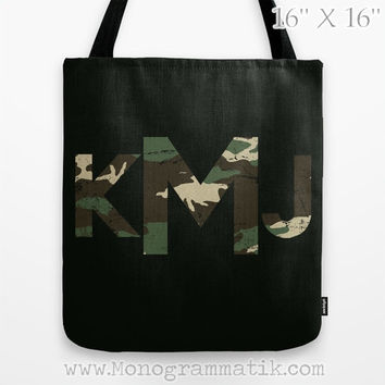 "Monogram/Personalized ""Audie in Oil"" Custom Tote Bag 13x13 Camo Carryall Initials Name Letters Black Tan Slate Forest Green Brown Digital"