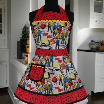 Star Trek Comic Book Style Print Double Skirted Apron