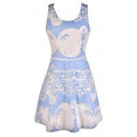 Lily Boutique Blue and Ivory Dress, Pale Blue and Ivory Dress, Baby Blue and Ivory Dress, Sky Blue and Ivory Dress, Blue and Ivory Summer Dress, Cute Summer Dress, Blue and Ivory A-Line Dress, Blue and White Dress, Cute Blue and White Dress, Blue and White