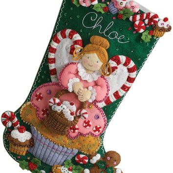 "Cupcake Angel Bucilla Felt Stocking Applique Kit 18"" Long"