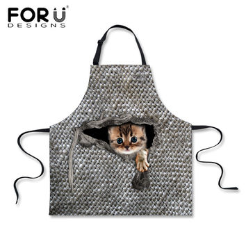 FORUDESIGNS Kitchen Apron 3D Animal Cute Cat Owl Printing Chef Aprons for Men Women Cleaning Tool Cute Lady Sleeveless bbq Apron
