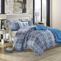 Lynwood Motif Blues 10 Piece Embroidery Comforter Bed In A Bag Set