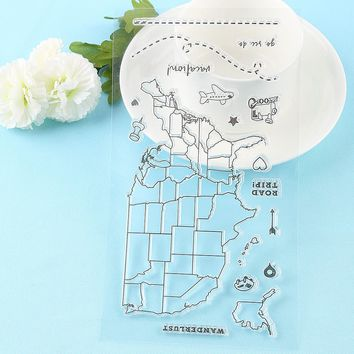 1 PC New Map/Dog/Cat/Flower Scrapbooking DIY Album Cards Transparent Silicone Rubber Clear Sheet Ctue Pattern Stamps DIY Crafts