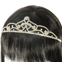 Rhinestone Crystal Hair Comb Attached Tiara