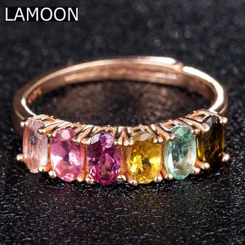 LAMOON Fine Jewelry 100% Real Natural Gemstones Oval Multi-color Tourmaline Ring 925 Sterling Silver Rings For Women