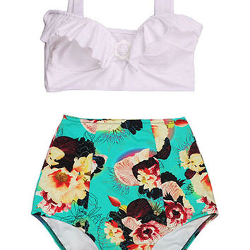 White Top and Mint Flora Flora Vintage Retro style High Waist Waisted Shorts Bottom Bikini Swimsuit Swimsuits Swimwear Bathing suit  S M L