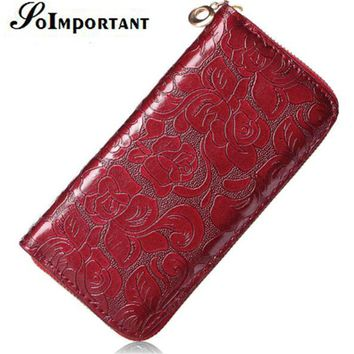 Magic Wallet Leather Female Floral Women Wallets Purse Designer Luxury Brand Long Wallets Flower Zipper Card Holder Clutch Handy