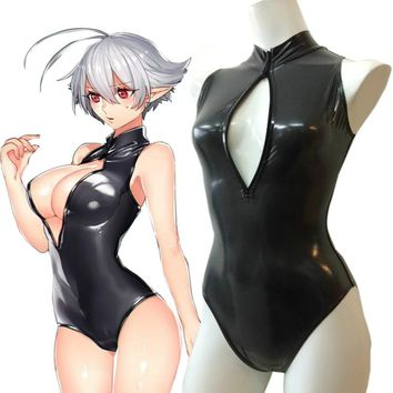 Sukumizu Sexy Japan Anime Open Chest Zipper Swimsuit Cosplay Swimwear School Girl Charming Swimwear Cosplay Catsuit Black/White