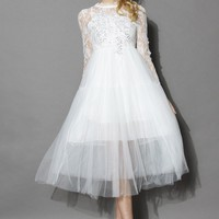Frozen White Lace Tulle Dress