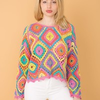 Vintage Bright Crocheted Sweater