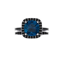 Black Diamond Halo Wedding Set 14K Black Gold with 9mm Round Cut London Blue Topaz Center-V1060