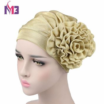 Luxury Women Metallic Flower Beanie Hat Bonnet Chemo Cap Headwear Muslim Scarf Hijab Islamic Turban