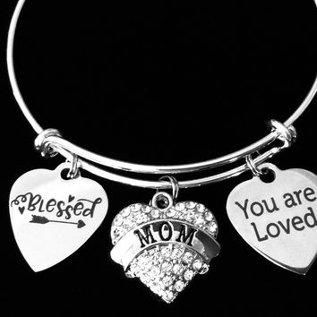 Blessed Mom Jewelry You Are Loved Expandable Charm Bracelet Silver Adjustable Bangle One Size Fits All Gift Bling Crystal Heart