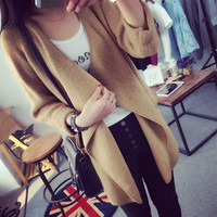 Asymmetrical Knitted Cardigan Sweater