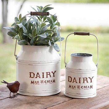 Farm House Country Style Set of Two White Dairy Buckets Containers Display Bins