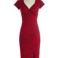 ModCloth Rockabilly Long Cap Sleeves Sheath Just Like the Movies Dress in Red