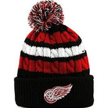 ONETOW NHL Detroit Red Wings New Era Jr. Wintry Warm Knit Hat