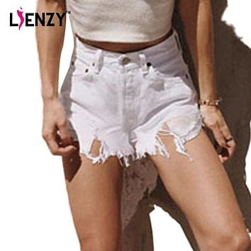 LIENZY Ripped White Jean Shorts Tassel High Waisted Irregular Frayed Denim Shorts Pocket Holes Denim Shorts