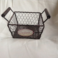 French Wire Work Basket Cuisine Enamelware