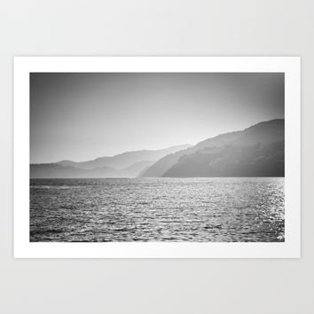 Sea and foggy mountains Art Print by Guido Montañés