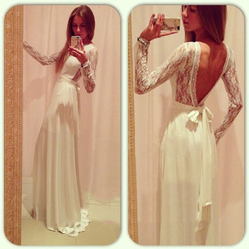 Cocktail Long Sleeve Backless Maxi Dress Evening Gown Women Formal White = 1901875588
