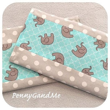 Personalized Elephant Burp Cloths ~ Elephant Baby Shower Gift ~ Gender Neutral Burp Cloths ~ Turquoise and Grey Burp Cloths ~ Set of 2