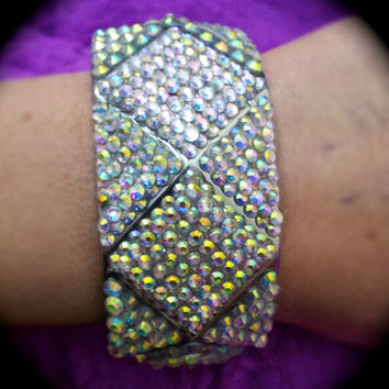 Iridescent Crystal Layered Diamond Bangle