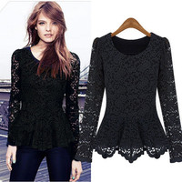 Women Lace Sheer Long Sleeve Peplum Jumper Top Blouse