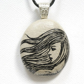 Windy hair girl stone pendant, original black painting on light gray stone as unique necklace, pebble art jewelry for her