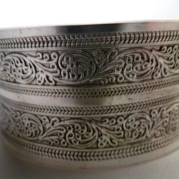 Vintage Silver Etched Engraved Cuff Bracelet Bangle Scroll Design Costume Jewelry