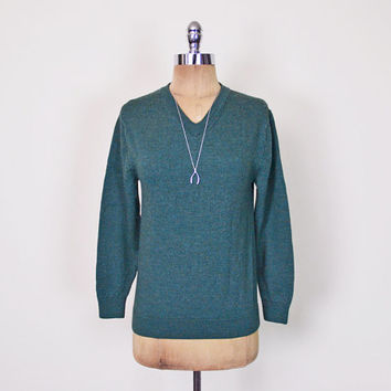 Forest Green Sweater Jumper 100% Merino Wool Sweater V-Neck Sweater Boyfriend Sweater Skinny Fit Preppy Sweater 80s 90s Women XS Extra Small