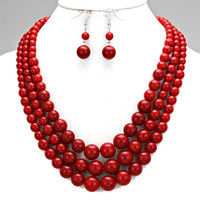 Red Bead Three Row Necklace Set