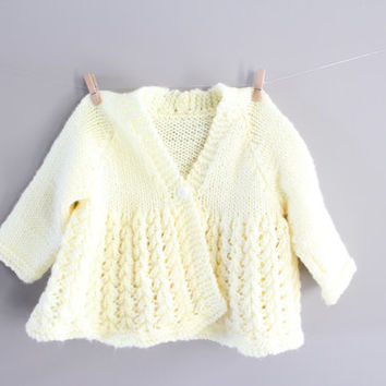 Hand Knitted Baby Girl Crochet Cardigan Pastel Yellow Baby Girl Matinee Coat Baptism clothes Baby Sweater Size 0 to 3 months