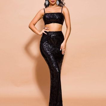 Missord Sequin Zip Back Cami Top & Maxi Skirt Set
