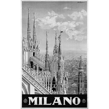 Italy Milano 1920 poster Metal Sign Wall Art 8in x 12in Black and White