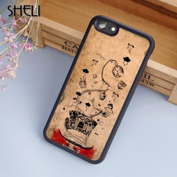 SHELI Mad Hatter Alice Wonderland Phone Case Cover For iPhone 6 6S 7 8 Plus X 5S SE Samsung Galaxy note 8 S5 S6 S7 S8 edge Plus