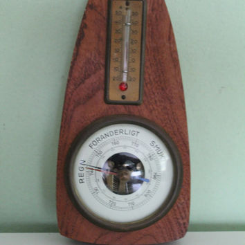 Vintage Primitive Rustic Wood Barometer, Shabby Chic, Rustic Home Decor, Farm House Decor