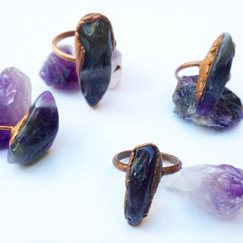 Tumbled Amethyst Ring | Amethyst Ring | Purple Stone Ring | Raw Stone Ring | Lavender Amethyst Ring | Boho Jewelry