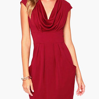 Red Cowl Neck Cap Sleeve Mini Dress