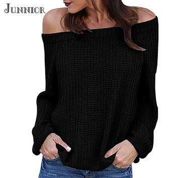Women Pullover Sweater Off Shoulder Oversized Knitted Autumn Winter Clothes Fashion