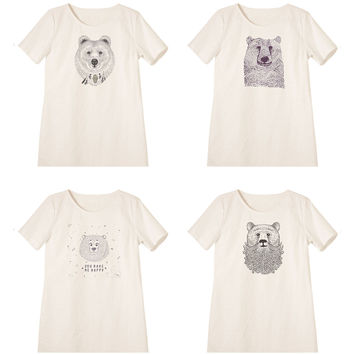 Women Bears in hand draw style Printed Linen Vintage Mini Shift Dress WDS_06